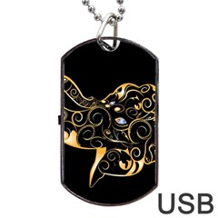 Beautiful Elephant Made Of Golden Floral Elements Dog Tag Usb Flash (two Sides)  by FantasyWorld7
