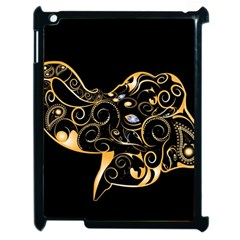 Beautiful Elephant Made Of Golden Floral Elements Apple Ipad 2 Case (black) by FantasyWorld7