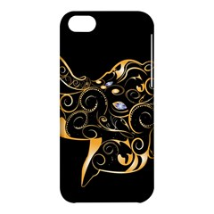 Beautiful Elephant Made Of Golden Floral Elements Apple Iphone 5c Hardshell Case by FantasyWorld7