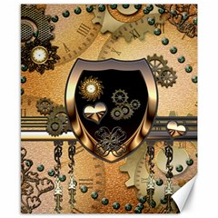 Steampunk, Shield With Hearts Canvas 8  x 10  by FantasyWorld7