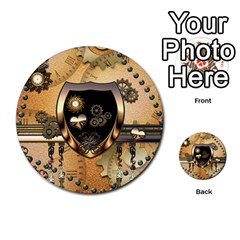 Steampunk, Shield With Hearts Multi Purpose Cards (round)