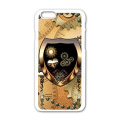 Steampunk, Shield With Hearts Apple Iphone 6/6s White Enamel Case
