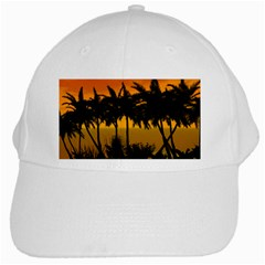 Sunset Over The Beach White Cap by FantasyWorld7