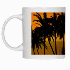 Sunset Over The Beach White Mugs by FantasyWorld7