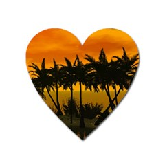 Sunset Over The Beach Heart Magnet by FantasyWorld7