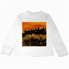 Sunset Over The Beach Kids Long Sleeve T-Shirts by FantasyWorld7
