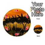 Sunset Over The Beach Playing Cards 54 (Round)  Front - HeartA