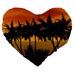 Sunset Over The Beach Large 19  Premium Heart Shape Cushions by FantasyWorld7