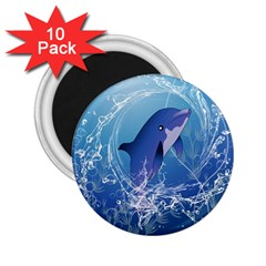 Cute Dolphin Jumping By A Circle Amde Of Water 2 25  Magnets (10 Pack)  by FantasyWorld7