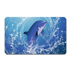 Cute Dolphin Jumping By A Circle Amde Of Water Magnet (rectangular) by FantasyWorld7