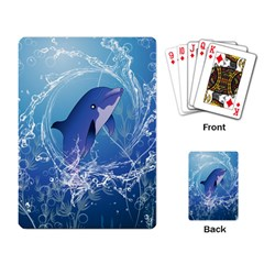 Cute Dolphin Jumping By A Circle Amde Of Water Playing Card by FantasyWorld7