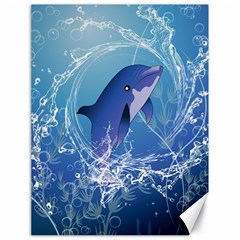 Cute Dolphin Jumping By A Circle Amde Of Water Canvas 18  X 24   by FantasyWorld7