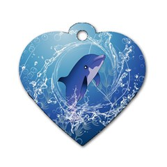 Cute Dolphin Jumping By A Circle Amde Of Water Dog Tag Heart (one Side) by FantasyWorld7