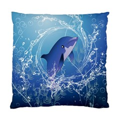 Cute Dolphin Jumping By A Circle Amde Of Water Standard Cushion Case (one Side)  by FantasyWorld7