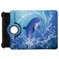 Cute Dolphin Jumping By A Circle Amde Of Water Kindle Fire Hd Flip 360 Case by FantasyWorld7