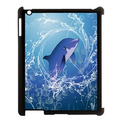 Cute Dolphin Jumping By A Circle Amde Of Water Apple Ipad 3/4 Case (black) by FantasyWorld7