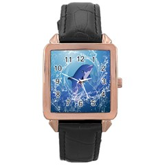 Cute Dolphin Jumping By A Circle Amde Of Water Rose Gold Watches by FantasyWorld7