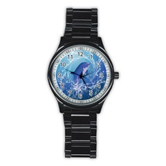 Cute Dolphin Jumping By A Circle Amde Of Water Stainless Steel Round Watches by FantasyWorld7