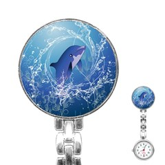 Cute Dolphin Jumping By A Circle Amde Of Water Stainless Steel Nurses Watches by FantasyWorld7