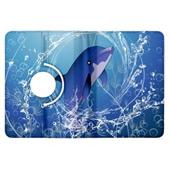 Cute Dolphin Jumping By A Circle Amde Of Water Kindle Fire Hdx Flip 360 Case by FantasyWorld7