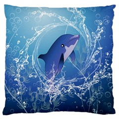 Cute Dolphin Jumping By A Circle Amde Of Water Large Flano Cushion Cases (two Sides)  by FantasyWorld7