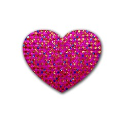 Polka Dot Sparkley Jewels 1 Rubber Coaster (heart)  by MedusArt