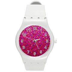 Polka Dot Sparkley Jewels 1 Round Plastic Sport Watch (m) by MedusArt