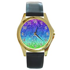 Grunge Art Abstract G57 Round Gold Metal Watch by MedusArt