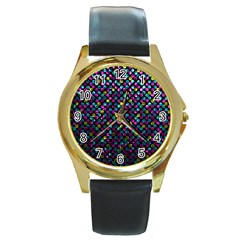 Polka Dot Sparkley Jewels 2 Round Gold Metal Watches by MedusArt
