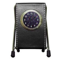 Polka Dot Sparkley Jewels 2 Pen Holder Desk Clocks by MedusArt
