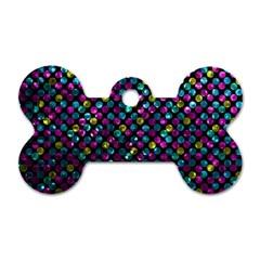 Polka Dot Sparkley Jewels 2 Dog Tag Bone (two Sides) by MedusArt