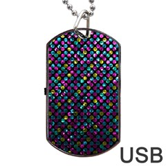 Polka Dot Sparkley Jewels 2 Dog Tag Usb Flash (one Side) by MedusArt