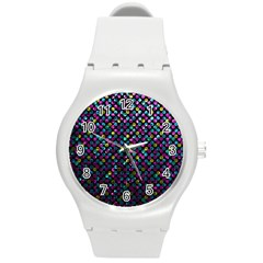 Polka Dot Sparkley Jewels 2 Round Plastic Sport Watch (m) by MedusArt