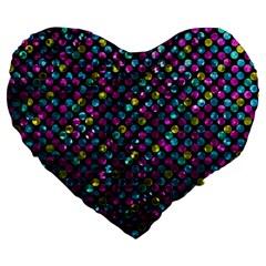 Polka Dot Sparkley Jewels 2 Large 19  Premium Heart Shape Cushions by MedusArt
