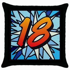 Comic Book 18 Blue Throw Pillow Cases (black) by ComicBookPOP