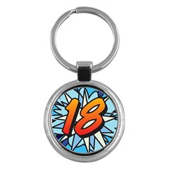 Comic Book 18 Blue Key Chains (round)  by ComicBookPOP