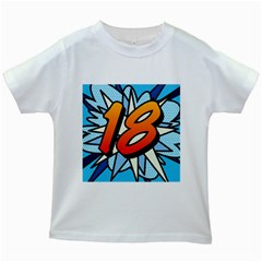 Comic Book 18 Blue Kids White T Shirts by ComicBookPOP