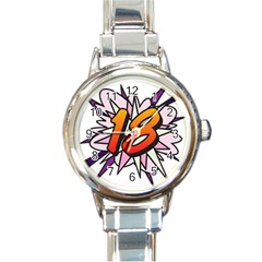 Comic Book 18 Pink Round Italian Charm Watches by ComicBookPOP
