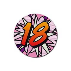 Comic Book 18 Pink Rubber Coaster (Round)  by ComicBookPOP