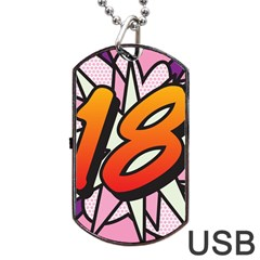 Comic Book 18 Pink Dog Tag USB Flash (Two Sides)  by ComicBookPOP