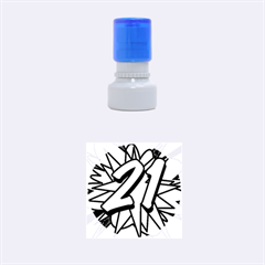 Comic Book 21 Blue Rubber Round Stamps (Small) by ComicBookPOP