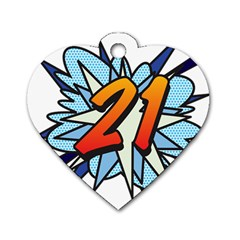 Comic Book 21 Blue Dog Tag Heart (one Side) by ComicBookPOP