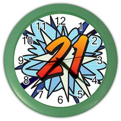 Comic Book 21 Blue Color Wall Clocks by ComicBookPOP