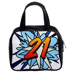 Comic Book 21 Blue Classic Handbags (2 Sides) by ComicBookPOP