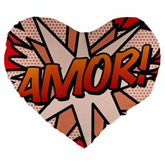 Comic Book Amor!  Large 19  Premium Heart Shape Cushions by ComicBookPOP