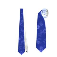 Snow Stars Blue Neckties (one Side)