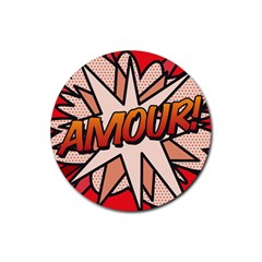 Comic Book Amour!  Rubber Coaster (Round)  by ComicBookPOP