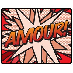Comic Book Amour!  Double Sided Fleece Blanket (medium)  by ComicBookPOP