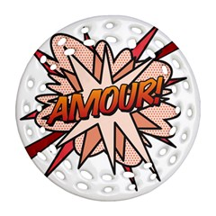 Comic Book Amour! Round Filigree Ornament (2side)