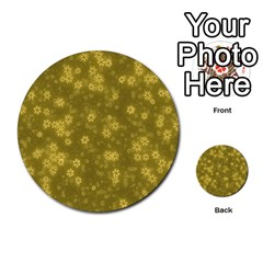 Snow Stars Golden Multi Purpose Cards (round)  by ImpressiveMoments